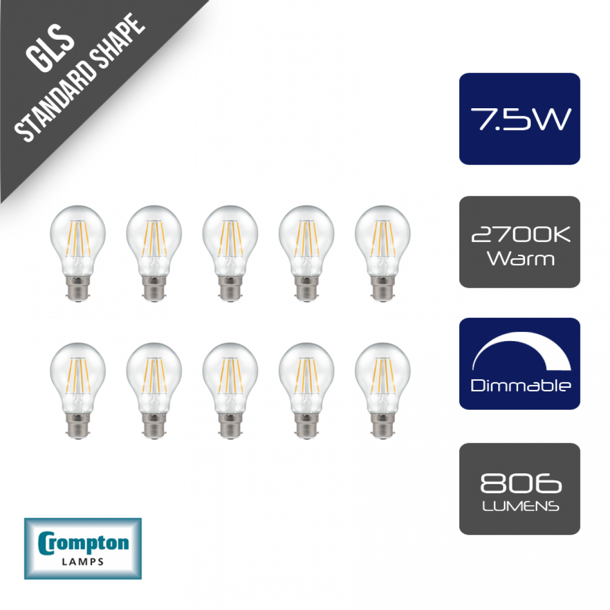 BC B22 Bayonet Cap Lamps 10x 60W Clear Candle Dimmable Filament Light Bulbs