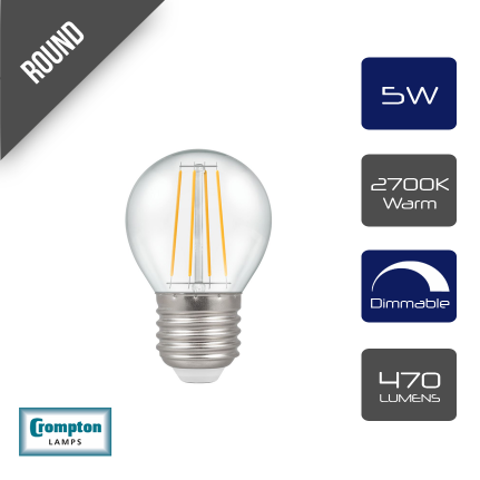Crompton LED Dimmable Filament Golf Ball Light Bulb Clear 5W E27 ES 2700K Warm