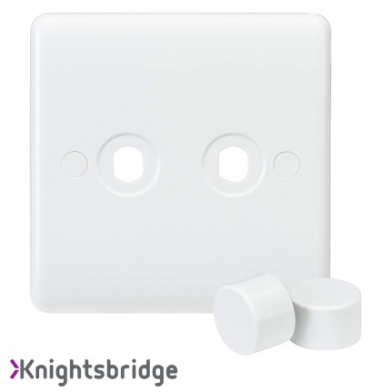 Knightsbridge Curved Edge 2G Dimmer Plate with 2 Matching Dimmer Cap