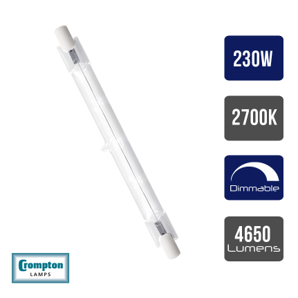 Crompton Energy Saving Halogen Linear 117mm • 230W • 2700K • R7s • Dimmable - 2700k Warm White