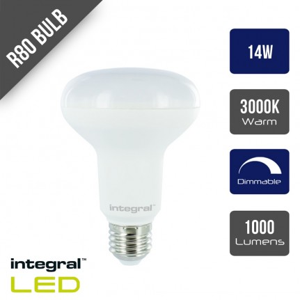 Integral LED R80 Bulb E27 1000lm 14W Dimmable 120 Beam - 3000K