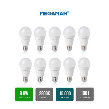 Pack of 10 Megaman 709637 Opal LED GLS Style Light Bulb E27 ES 2800K Warm White 8.8 W