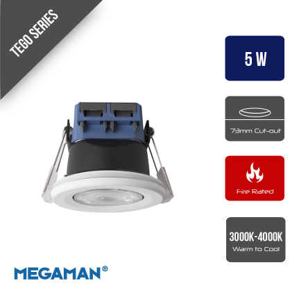 MEGAMAN 5w TEGO Integrated LED Fire Rated Downlight Dimming 3000K or 4000K IP65 Matt White Fixed