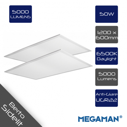 Pack of 2 x Megaman BERTO Sidelit TPb UGR22 Rectangular LED Panel 50W 6500K