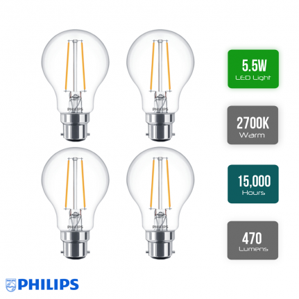 Pack of 4 x Philips Classic LED GLS 5.5W BC Cap Very Warm White Clear Dimmable