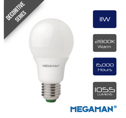 Megaman 143320 Opal LED GLS Style Light Bulb E27 ES 2800K Warm White 11 W