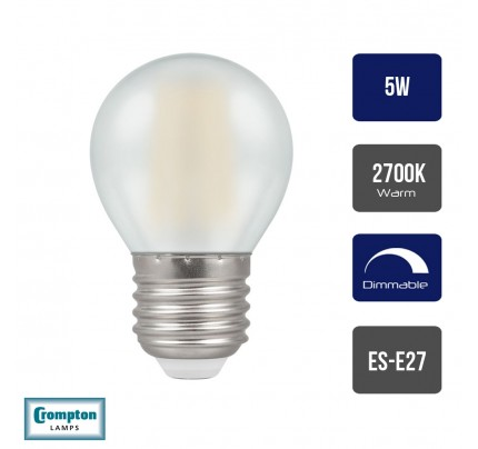 Crompton LED Pearl 5W E27 ES Dimmable Filament Golf Ball 2700K Warm