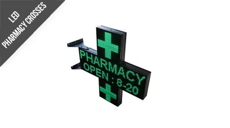Eye Catching High Resolution LED Pharmacy Cross Single Colour Green Fully Programmable Wi-Fi and LAN built in